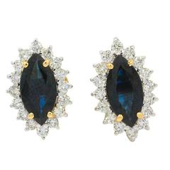 Sapphire Diamond Yellow Gold Earrings