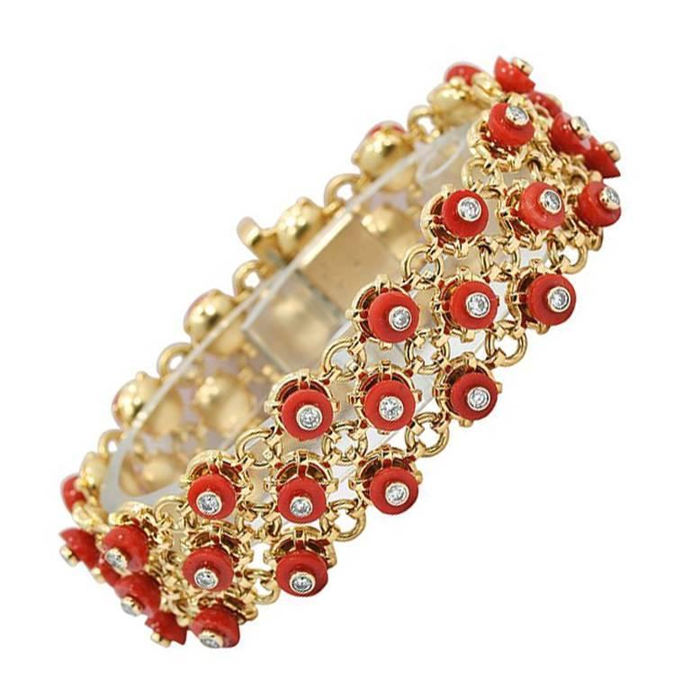 Mediterranean Coral Diamond Yellow Gold Beaded Bracelet
