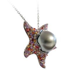 Multicolor Sapphire Tahitian Pearl Gold Starfish Pendant