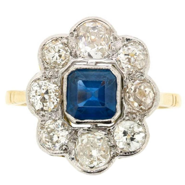 Art Deco Asscher Cut Sapphire Diamond Ring circa 1920s