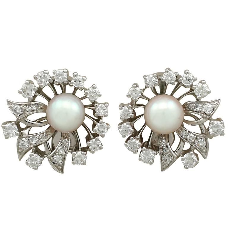 1970s Cultured Pearl and 1.22 Carat Diamond White Gold Clip-On Earrings