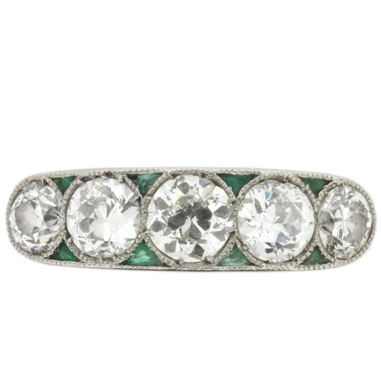 Art Deco Diamond and Emerald Five Stone Ring, circa 1920s