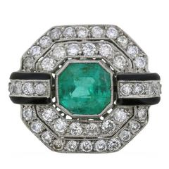 Vintage Emerald, Diamond and Black Enamel Cluster Ring, circa 1950s