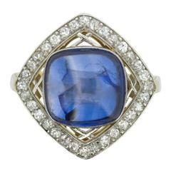 Art Deco Cabochon Sapphire and Diamond Dress Ring, circa 1920s