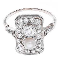 Art Deco 0.73 Carat Diamond Pearl Gold Cocktail Ring