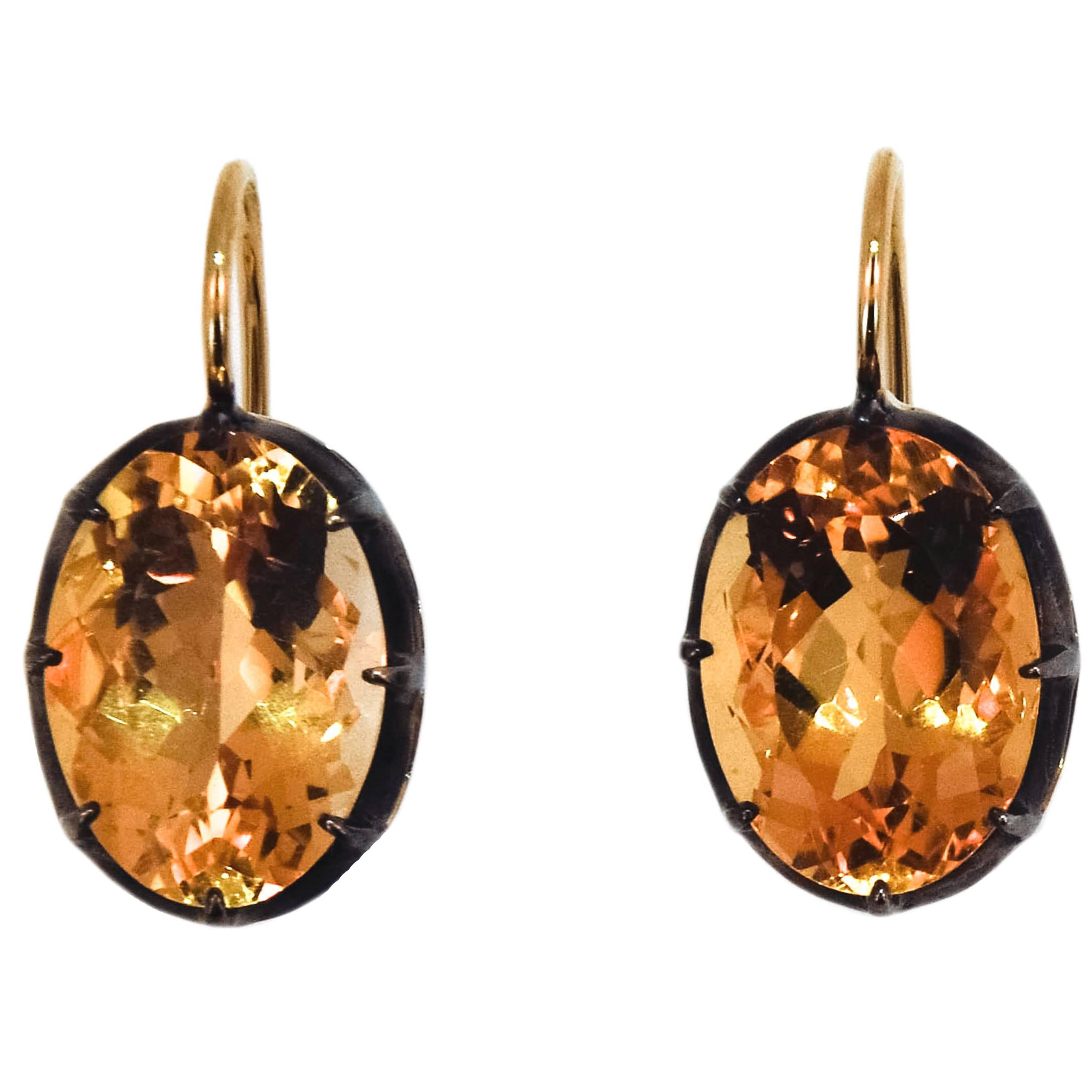Laura Munder Citrine Yellow Gold and Sterling Silver Earrings