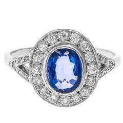 Art Deco 1.01 Carat Sapphire Diamond Gold Cocktail Ring