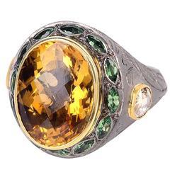 Citrine Peridot Ring