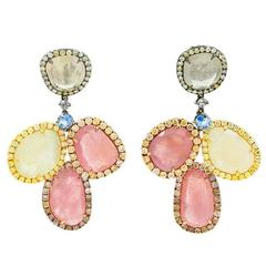 Tricolor Sapphire Diamonds Gold Earrings