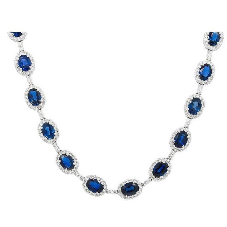 Sapphire Diamond White Gold Necklace