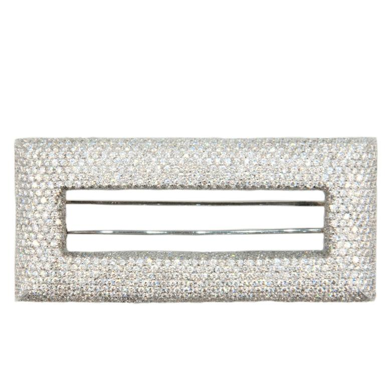 Laura Munder Pave' Diamond White Gold Brooch 1