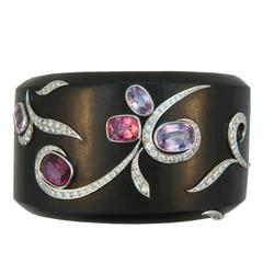 Laura Munder Pink and Purple Spinel Diamond White Gold Cuff Bracelet