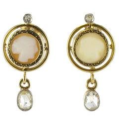 French Napoleon III Cameo and Diamond Earrings