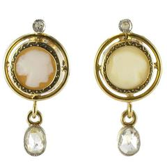 French Napoleon III Cameo and Diamond Earrings