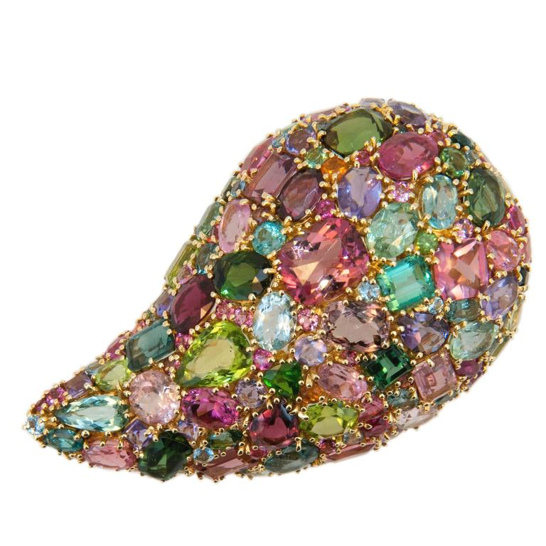 Laura Munder Multi-Color Tourmaline Peridot Yellow Gold Brooch For Sale