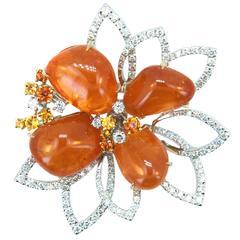 Laura Munder Mandarin Garnet Diamond Yellow and Orange Sapphire Brooch