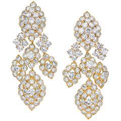 Mauboussin Paris Yellow Gold Hanging Diamond Earrings