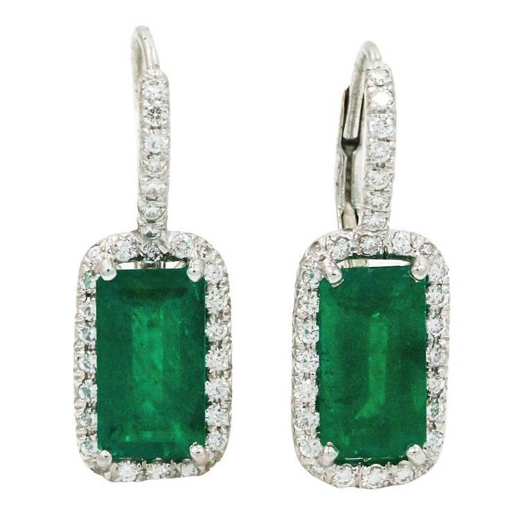 Emerald Diamond Platinum Earrings 1