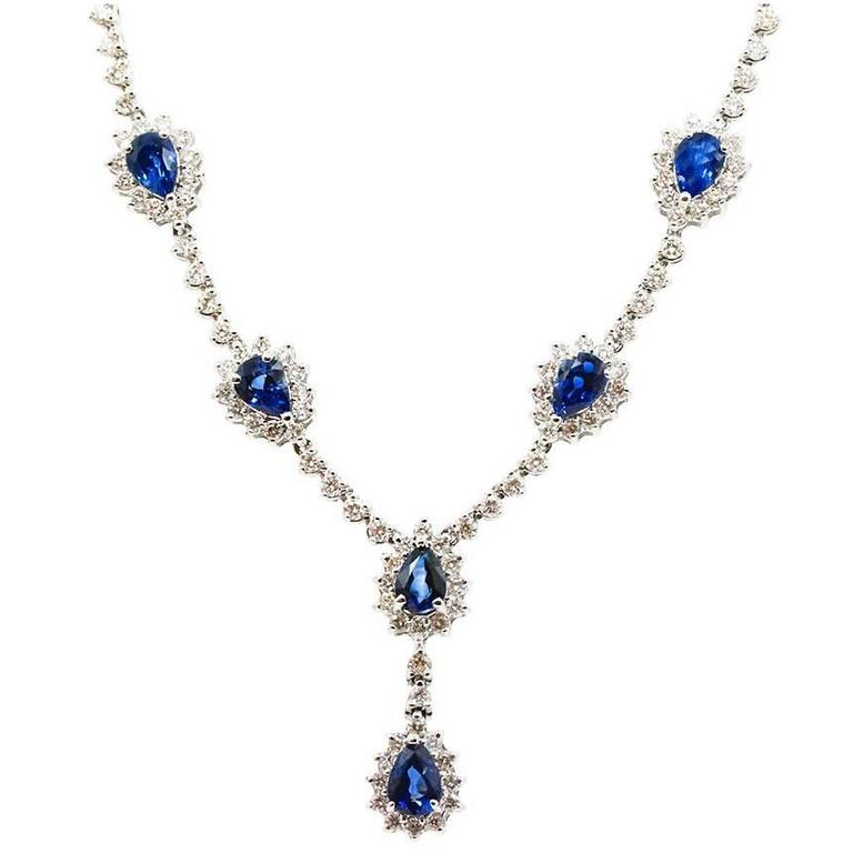 Sapphire Diamond White Gold Necklace