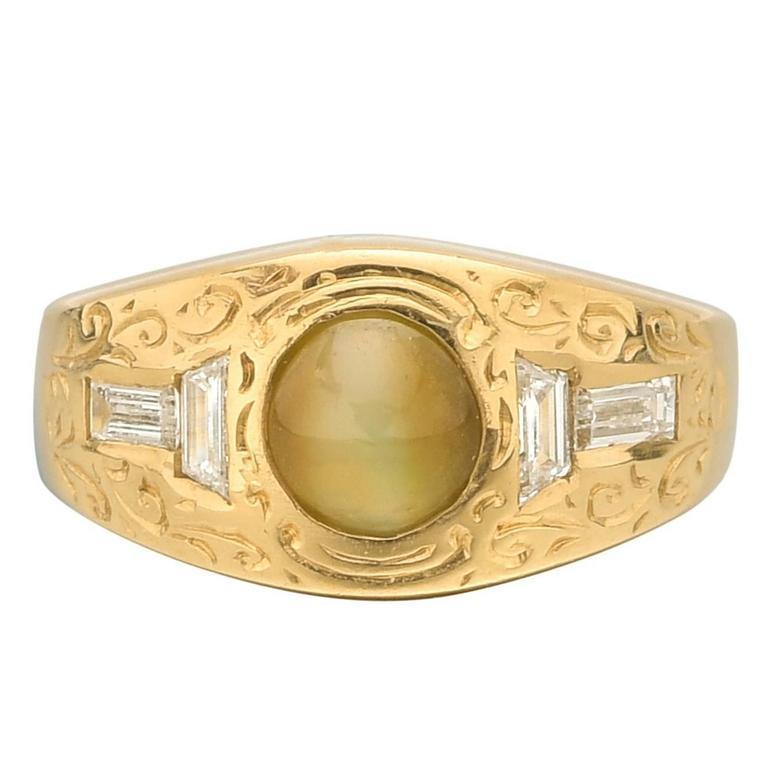 Cat's Eye Chrysoberyl Diamond Gentleman's Ring
