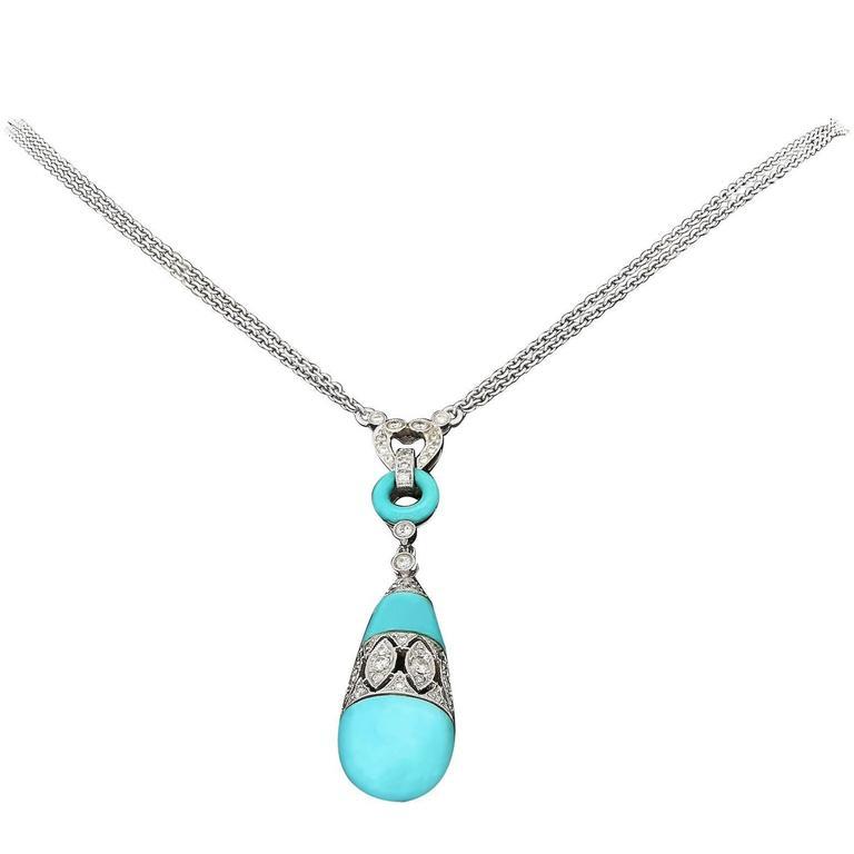 Turquoise Diamond Gold Pendant