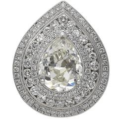 GIA Certified 3.02 Carat Pear Shape Diamond Gold Cluster Ring