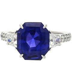 7.19 Carat Ceylon Emerald Cut Sapphire Diamond Gold Ring