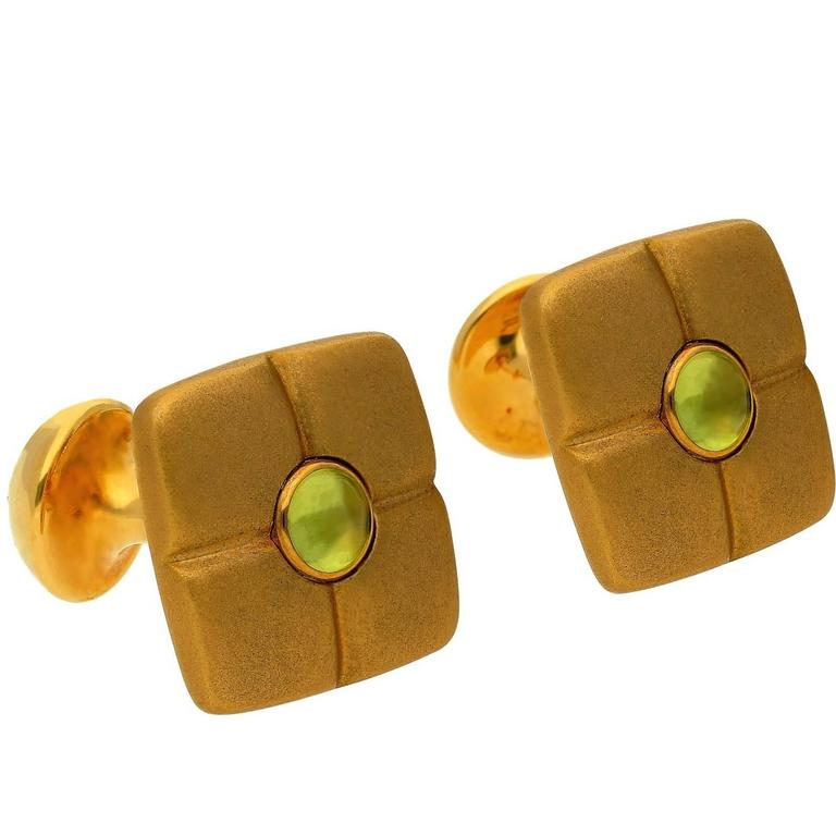 Mont Blanc Peridot Mother-of-Pearl Gold Cufflinks