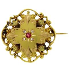 Gold Diamond Ruby Brooch