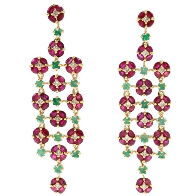 Luise Ruby Emerald Diamond Chandelier Earrings For