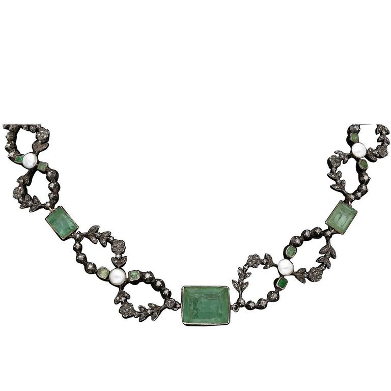 Edwardian Old Mine Emerald Pearl Diamond Platinum Silver Necklace For Sale
