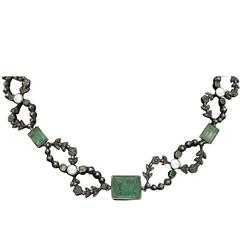 Edwardian Old Mine Emerald Pearl Diamond Platinum Silver Necklace
