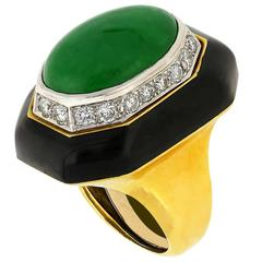 Certified David Webb Jadeite Jade Onyx Diamond Gold Platinum Cocktail Ring