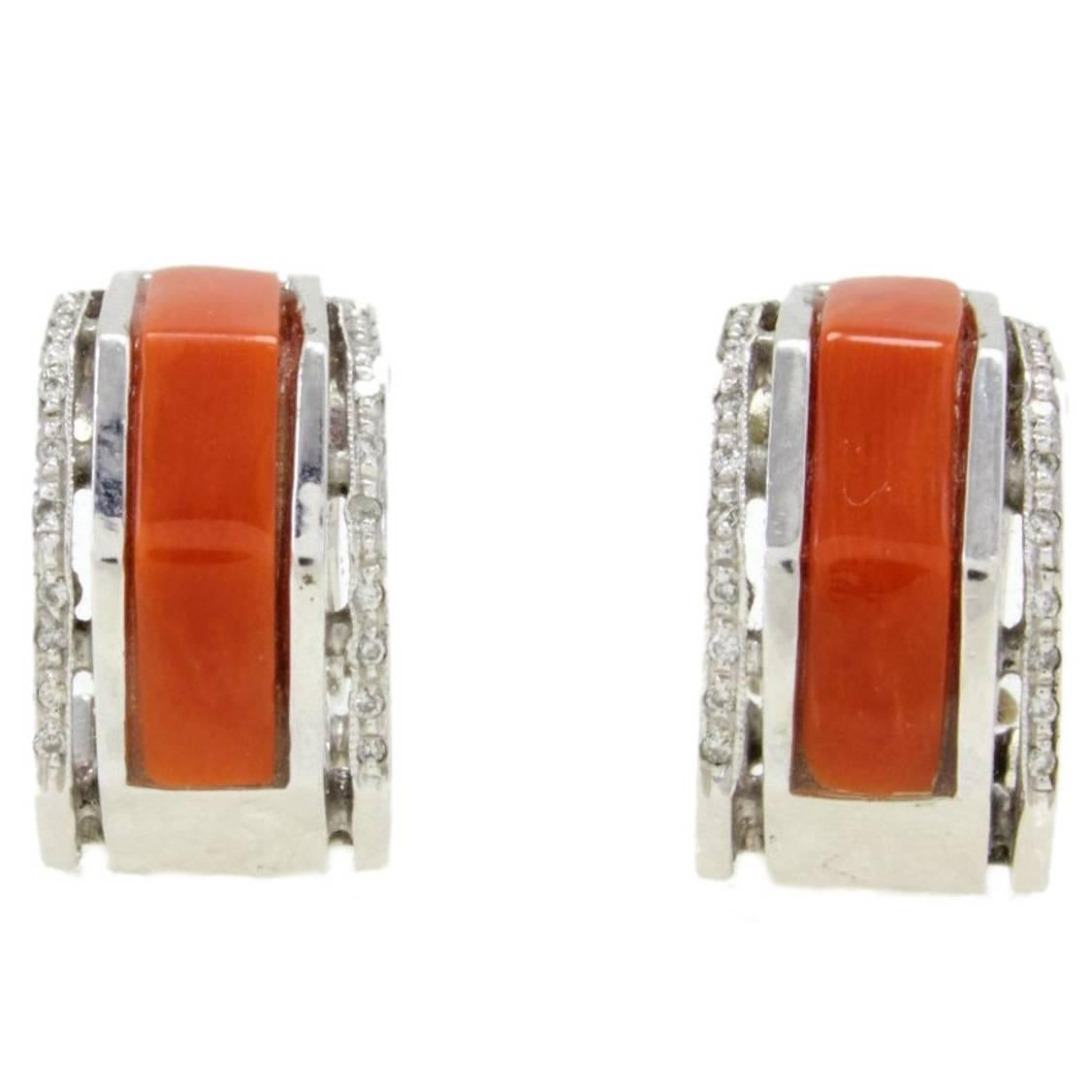 White Diamonds, Red Coral, 14K White Gold Clip-on Earrings
