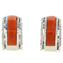 Diamond Coral Gold  Earrings