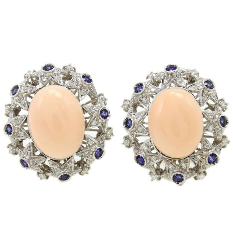 Coral Diamond Blue Sapphire Gold  Earrings