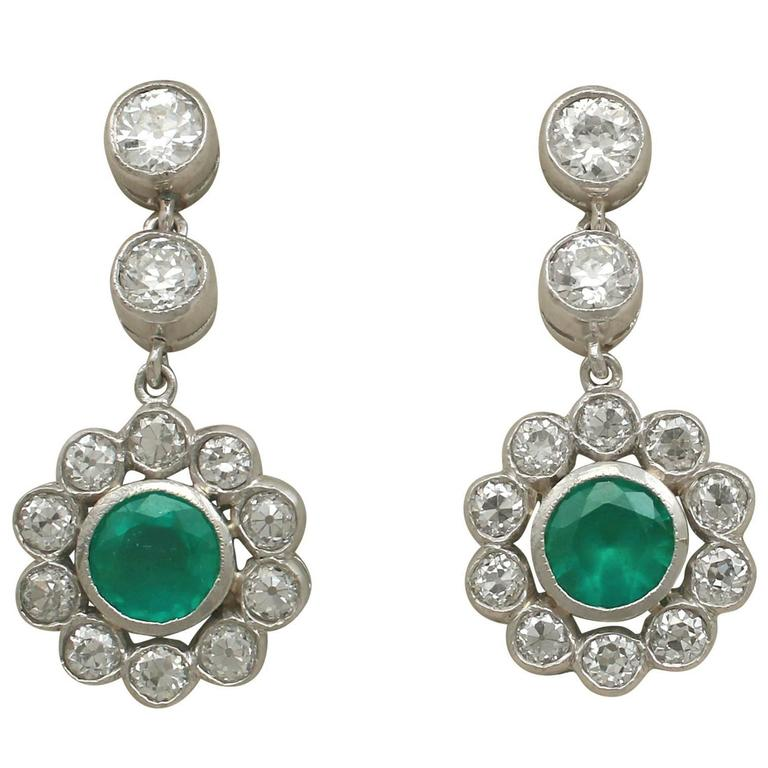 1930s Emerald and 1.82 Carat Diamond White Gold Drop Earrings