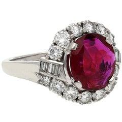 J.E. Caldwell & Co. 2.52 Carat Cushion Cut Ruby Diamond Platinum Cocktail Ring