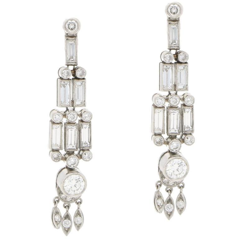 Baguette Diamond Drop Earrings