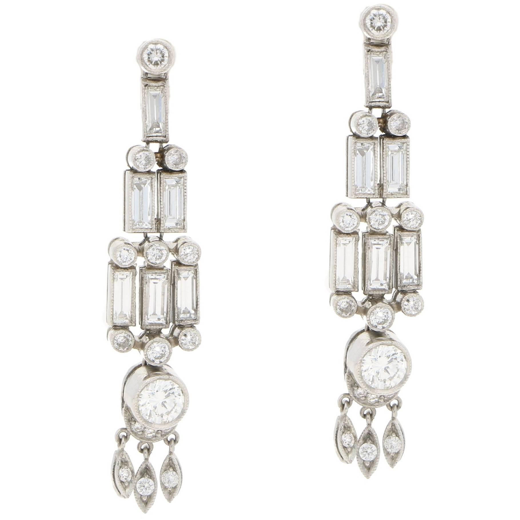 Art Deco Style Baguette Diamond Drop Earrings