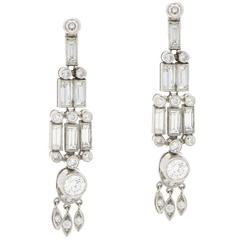 Baguette Diamond Drop Earrings