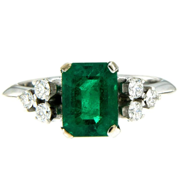 Natural 2.09 Carat Colombian Emerald Diamond Gold Ring