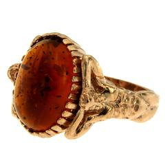 Amber Gold Sculptural Man Body Dome Gold Ring
