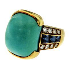 Turquoise Diamond Sapphire Gold Ring