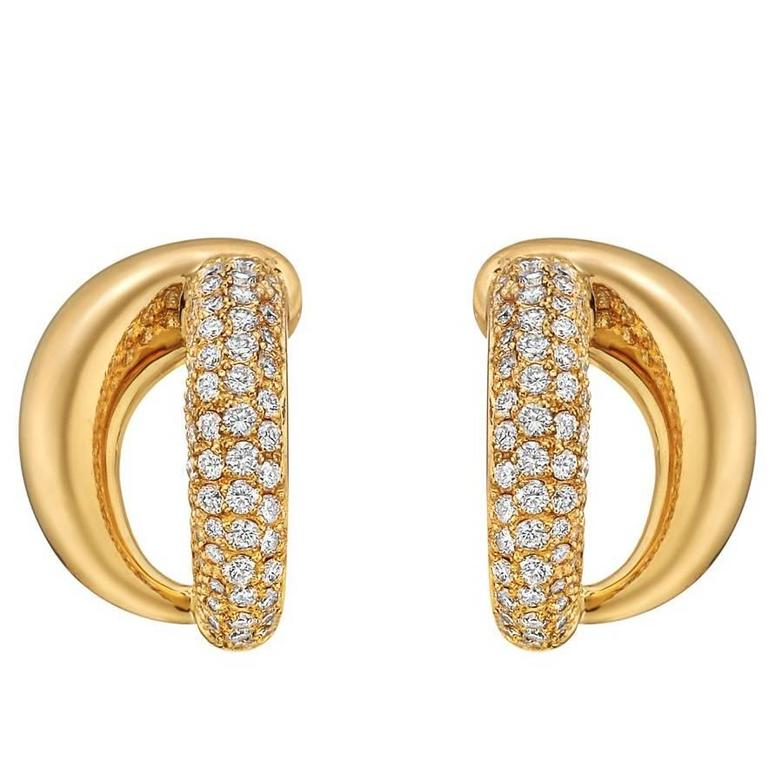 Mauboussin Yellow Gold Diamond Double Split Earrings