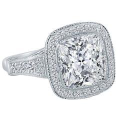 Hand Made Cushion Diamond Platinum Solitaire Ring