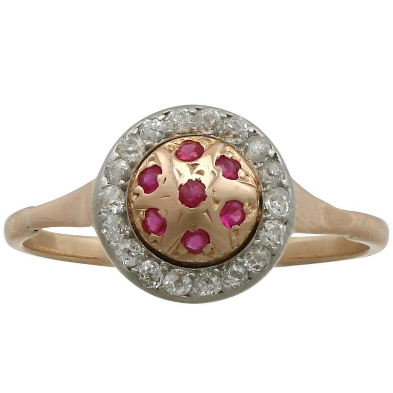 1940s Ruby and Diamond Yellow Gold Cocktail Ring