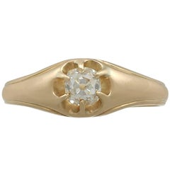 Diamond Yellow Gold Gent's Solitaire Ring