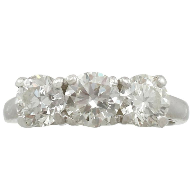 1950s 1.95 Carat Diamond and Platinum Trilogy Ring