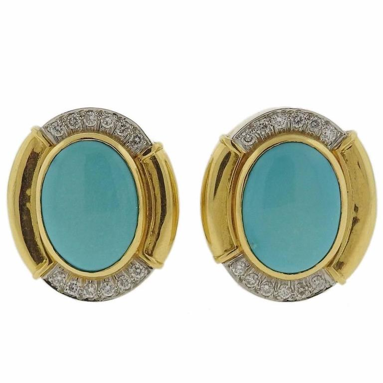 David Webb Turquoise Diamond  Gold Platinum Oval Earrings 1